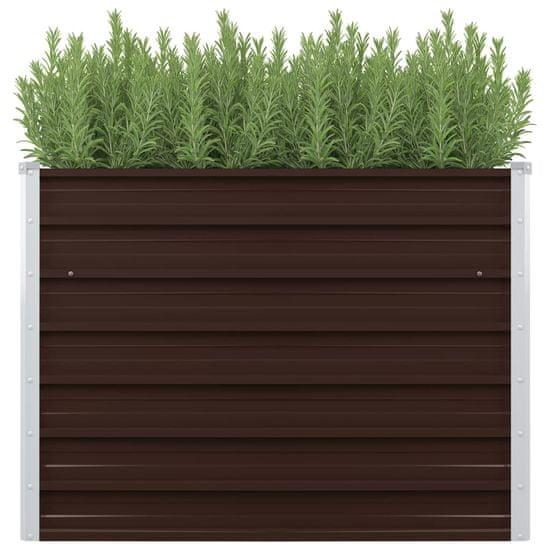 Greatstore Vyvýšený záhradný záhon, hnedý 100x40x77 cm, pozinkovaná oceľ
