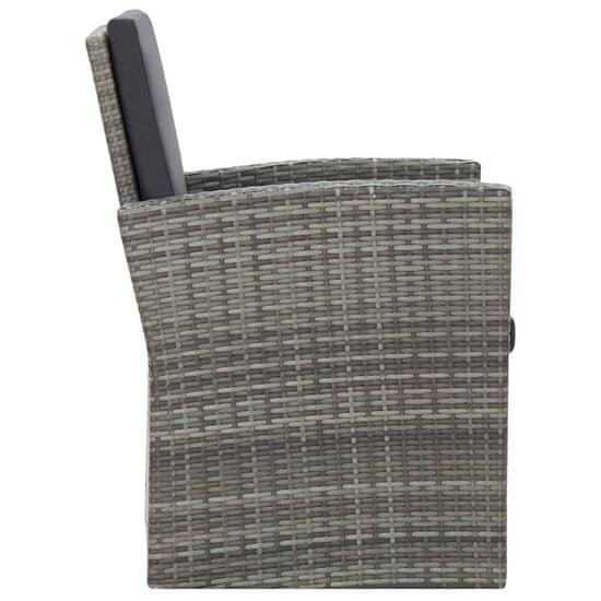 shumee 4-részes szürke polyrattan kerti bútorszett párnákkal