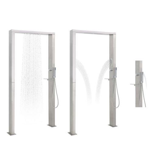 shumee Prysznic ogrodowy ze stali nierdzewnej, podwójne dysze