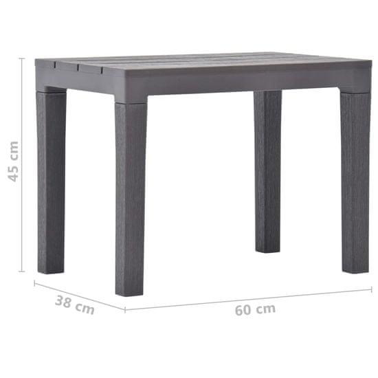 shumee barna műanyag kerti asztal 2 paddal