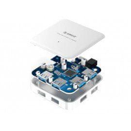 Orico USB 3.0 4-port BC1.2 nabíjací HUB 1,5A s adaptérom 12V/2,5A; U3BCH4-SV
