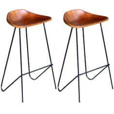 shumee Barové židle 2 ks černé a hnědé pravá kůže