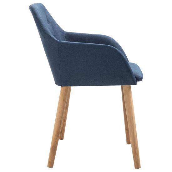 shumee Jedálenské stoličky 4 ks, modré, látka a dubový masív