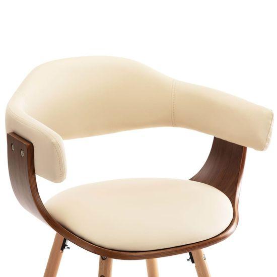 shumee Jedálenské stoličky 4 ks, krémové, umelá koža a ohýbané drevo