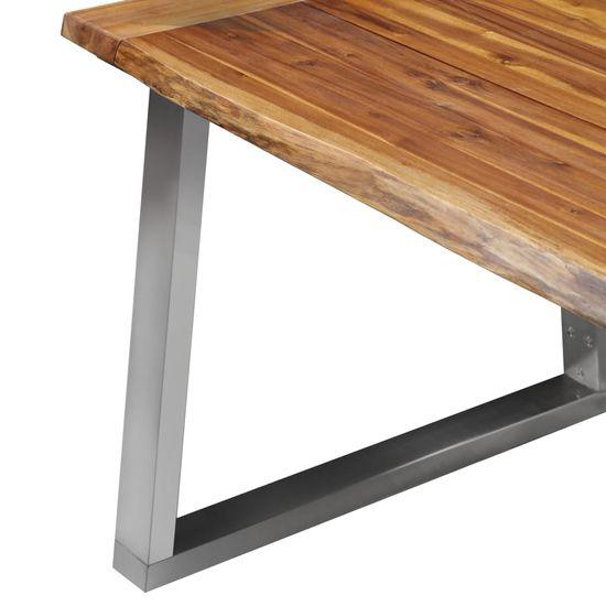 shumee Jedálenský stôl 180x90x75 cm masívne akáciové drevo a nehrdzavejúca oceľ