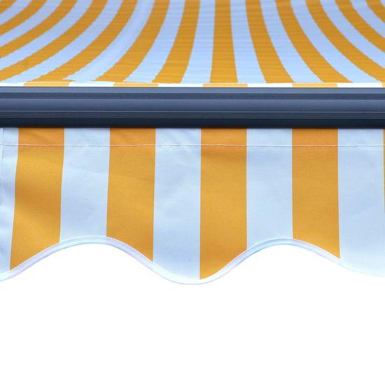 shumee sárga és fehér kézzel kihúzható LED-es napellenző 400 x 300 cm