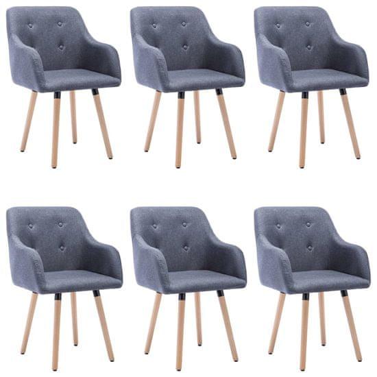 Greatstore Jedálenské stoličky 6 ks, svetlosivé, látka