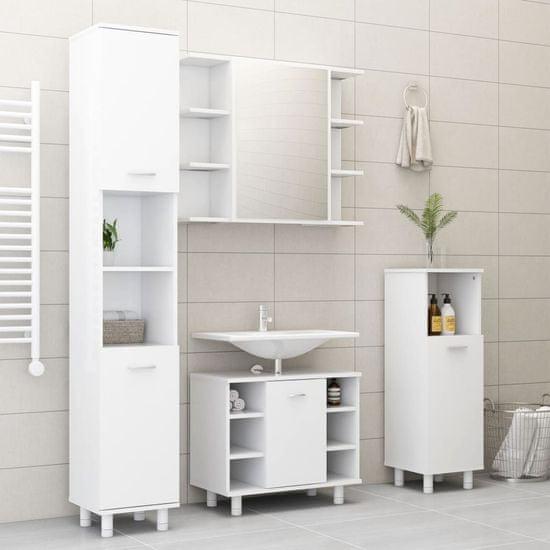 shumee 3-dielna súprava kúpeľňového nábytku, biela, drevotrieska