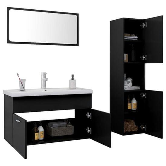 shumee fekete forgácslap fürdőszobai bútorszett