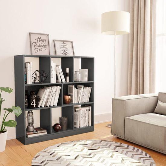 shumee Knjižna omara visok sijaj siva 97,5x29,5x100 cm iverna plošča
