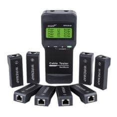 W-STAR Tester UTP kabelů typ NF8108M +8 příjimačů, multi, testuje délku, zkrat, chyby na PC síti