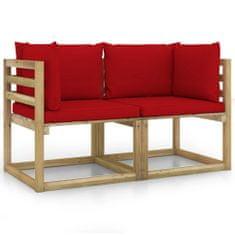 shumee rohové sedačky zahradní zahradní s polštáři 2 ks dřevěné