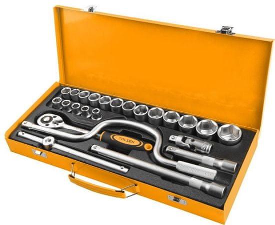 Tolsen Tools 24 dielna sada račňových kľúčov v plechovom kufri, TOLSEN