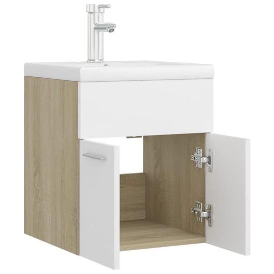shumee Omarica za umivalnik z vgradnim umivalnikom bela sonoma hrast