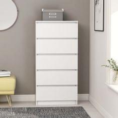 shumee Komoda so zásuvkami, biela 60x35x121 cm, drevotrieska