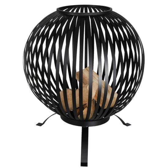 shumee Esschert Design Kôš na oheň guľový čierny uhlíková oceľ