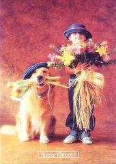 Anne Geddes Képeslap, kislány virággal és kutyával