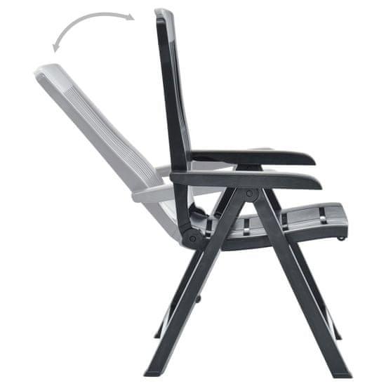 shumee 2 db antracitszürke dönthető műanyag kerti szék