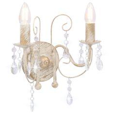 shumee Nástenná lampa s korálkami starožitná biela 2 x žiarovka E14