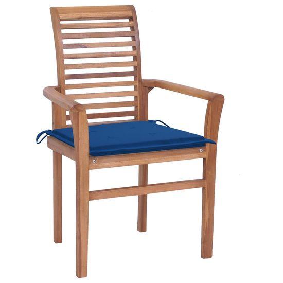 shumee Krzesła stołowe, 4 szt., kobaltowe poduszki, drewno tekowe