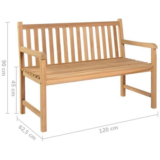Greatstore Záhradná lavička so zelenou podložkou 120 cm tíkový masív