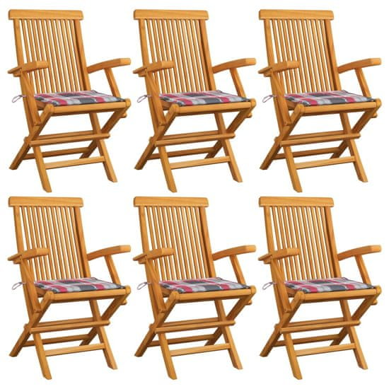 shumee 6 db tömör tíkfa kerti szék piros kockás párnával