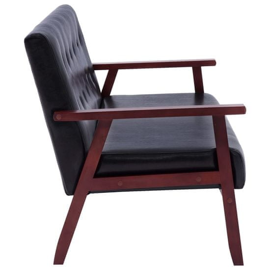 shumee 3-osobowa sofa, czarna, sztuczna skóra