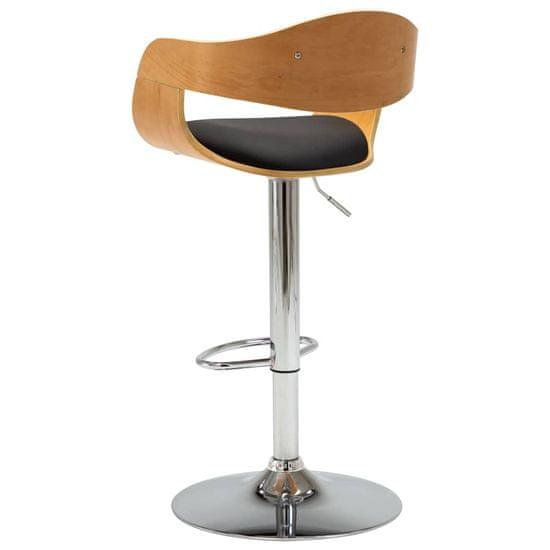 Greatstore Barová stolička čierna ohýbané drevo a umelá koža