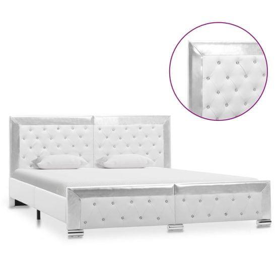 shumee Rama łóżka, biała, sztuczna skóra, 160 x 200 cm