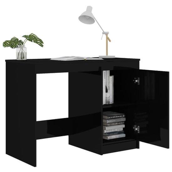 shumee Písací stôl, lesklý čierny 100x50x76 cm, drevotrieska