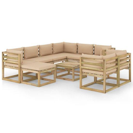 shumee 10-cz. zestaw wypoczynkowy do ogrodu, z poduszkami, drewniany