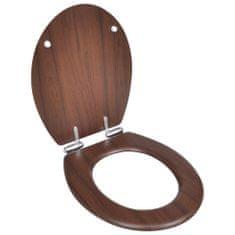 shumee WC sedadlo, MDF, pomalé sklápanie, jednoduchý dizajn, hnedé