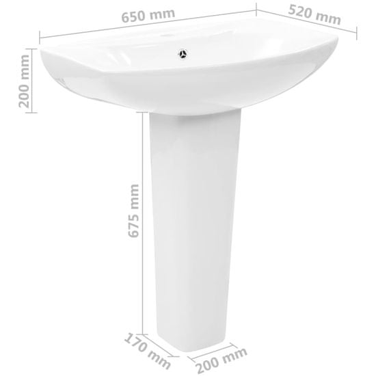Greatstore Voľne stojace umývadlo s podstavcom biele 650x520x200 mm keramické
