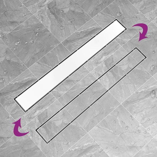 shumee Sprchový odtok s krytom 2 v 1 93x14 cm nehrdzavejúca oceľ