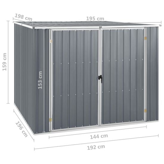 shumee Záhradná kôlňa sivá 195x198x159 cm pozinkovaná oceľ
