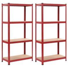 shumee Skladové regály 2 ks červené 80 x 40 x 160 cm ocel a MDF
