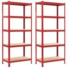 Greatstore Skladové regály 2 ks červené 80 x 40 x 180 cm ocel a MDF
