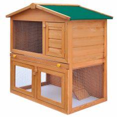 Greatstore Zahradní králikárna/domek pro drobná zvířata 3 dvířka dřevěná