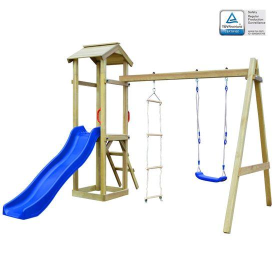 shumee Detské ihrisko+šmýkačka, rebríky, hojdačka 242x237x218cm, drevo