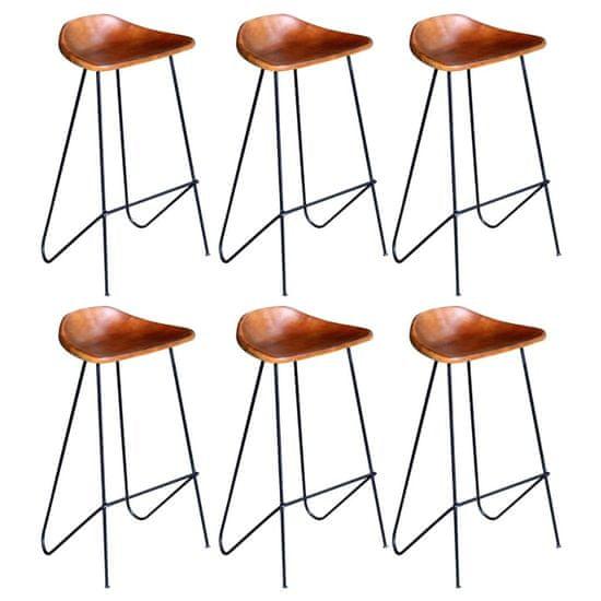 shumee Barové stoličky 6 ks, hnedé, pravá koža