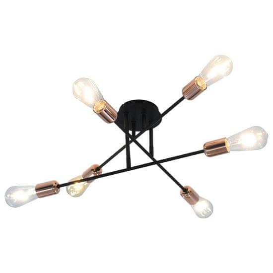 Greatstore Stropné svietidlo čierne a medené E27