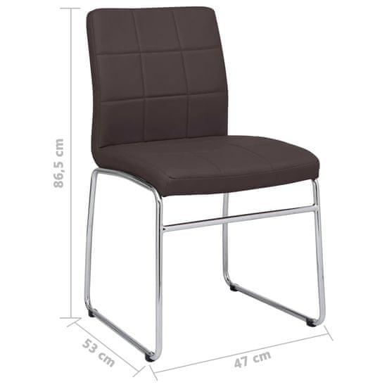 Greatstore Jedilni stoli 4 kosi rjavo umetno usnje