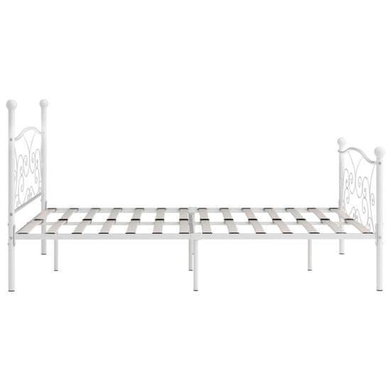 shumee Rama łóżka ze stelażem z listw, biała, metalowa, 200 x 200 cm