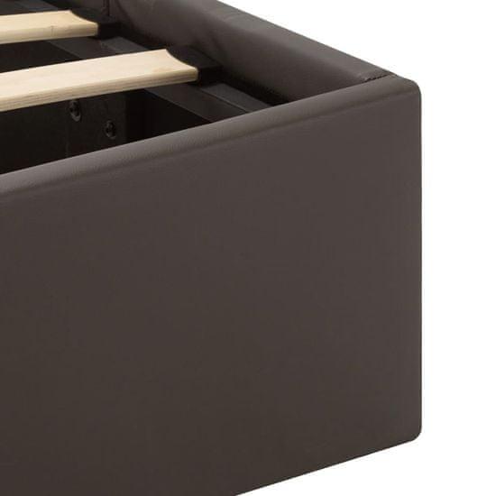 Greatstore Hydraulický posteľný rám+úložný priestor s LED sivý umelá koža 140x200 cm