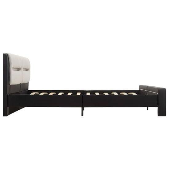 Greatstore Posteľný rám s LED, čierno biely, umelá koža 180x200 cm