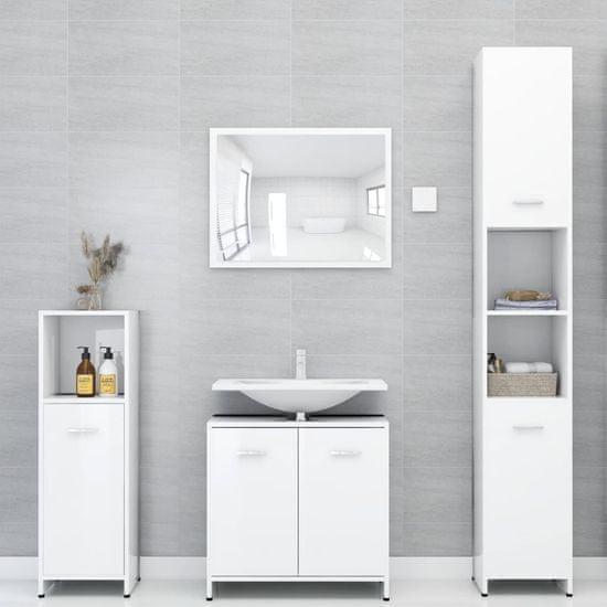 Greatstore Súprava kúpeľňového nábytku, lesklá biela, drevotrieska