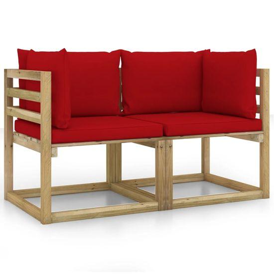 shumee Záhradné rohové sedadlá s vankúšmi 2 ks drevené