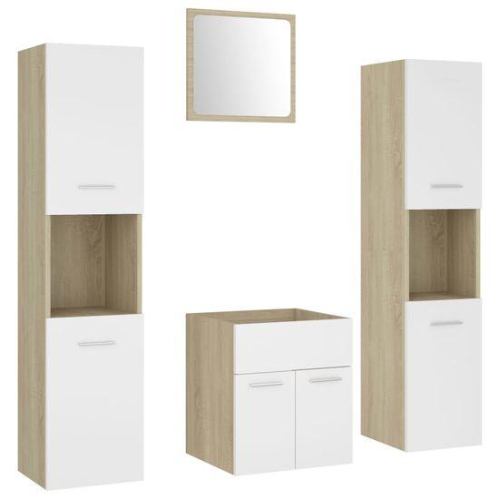 shumee Súprava kúpeľňového nábytku Sonoma Oak White a drevotrieska