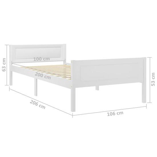 shumee Rama łóżka z litego drewna sosnowego, biała, 100 x 200 cm