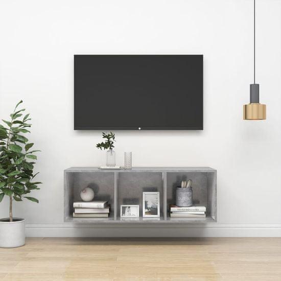 shumee Wisząca szafka pod TV, szarość betonu, 37x37x107 cm, płyta